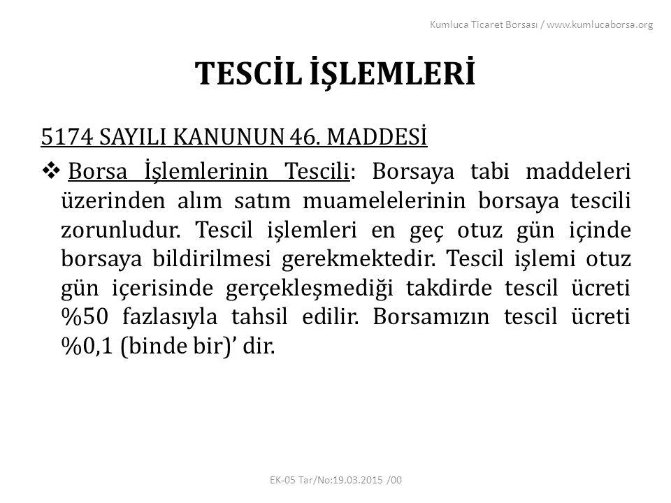 TESCİL İŞLEMLERİ 5174 SAYILI KANUNUN 46.