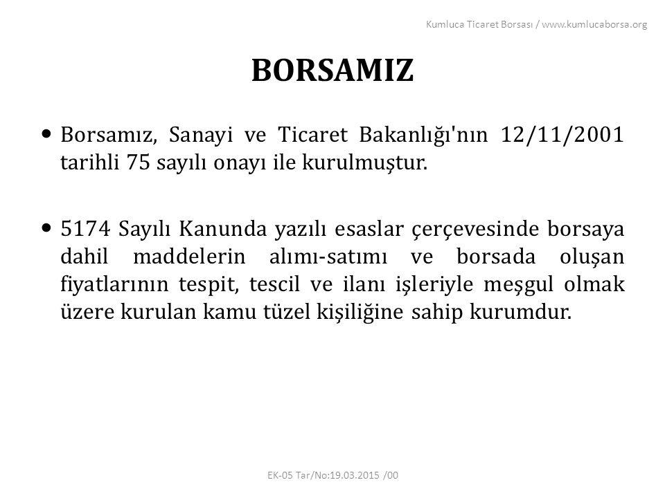 BORSAMIZ Borsamız, Sanayi ve Ticaret Bakanlığı nın 12/11/2001 tarihli 75 sayılı onayı ile kurulmuştur.