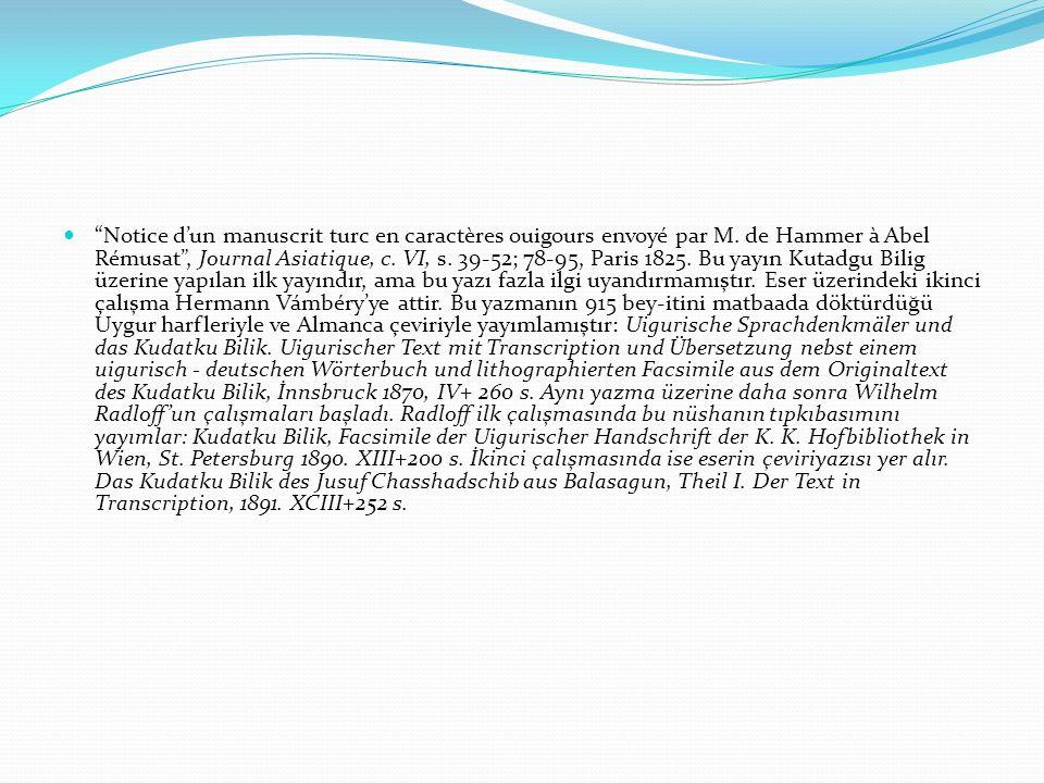 """""""Notice d'un manuscrit turc en caractères ouigours envoyé par M. de Hammer à Abel Rémusat"""", Journal Asiatique, c. VI, s. 39-52; 78-95, Paris 1825. Bu"""