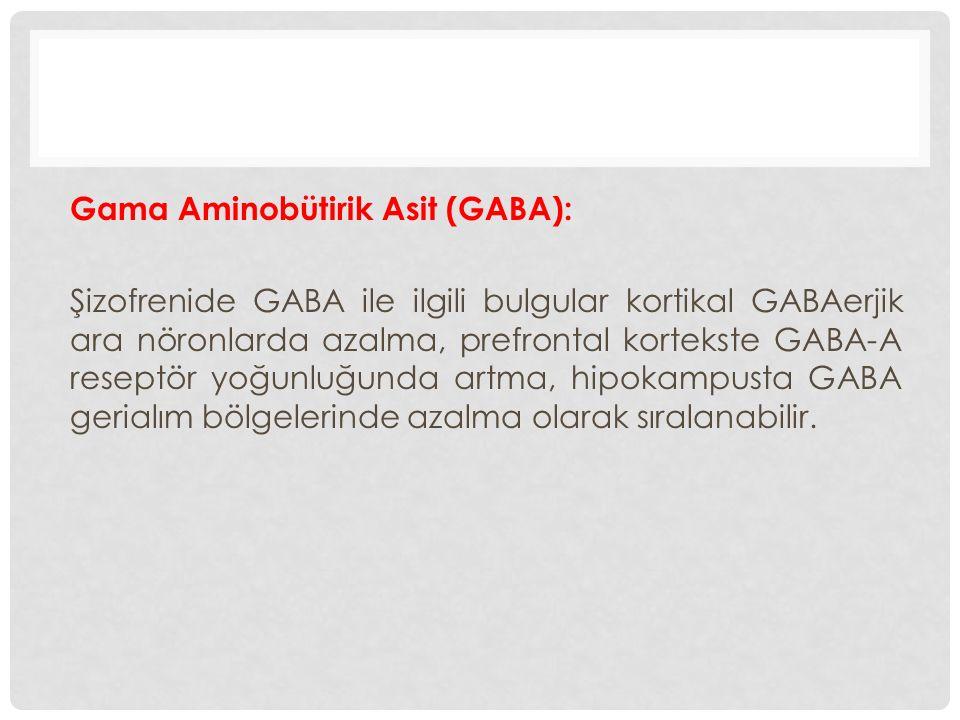 Gama Aminobütirik Asit (GABA): Şizofrenide GABA ile ilgili bulgular kortikal GABAerjik ara nöronlarda azalma, prefrontal kortekste GABA-A reseptör yoğ