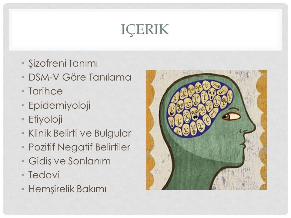 IÇERIK Şizofreni Tanımı DSM-V Göre Tanılama Tarihçe Epidemiyoloji Etiyoloji Klinik Belirti ve Bulgular Pozitif Negatif Belirtiler Gidiş ve Sonlanım Te