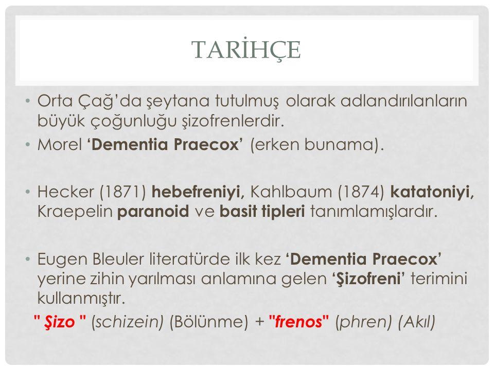 TARİHÇE Orta Çağ'da şeytana tutulmuş olarak adlandırılanların büyük çoğunluğu şizofrenlerdir. Morel 'Dementia Praecox' (erken bunama). Hecker (1871) h