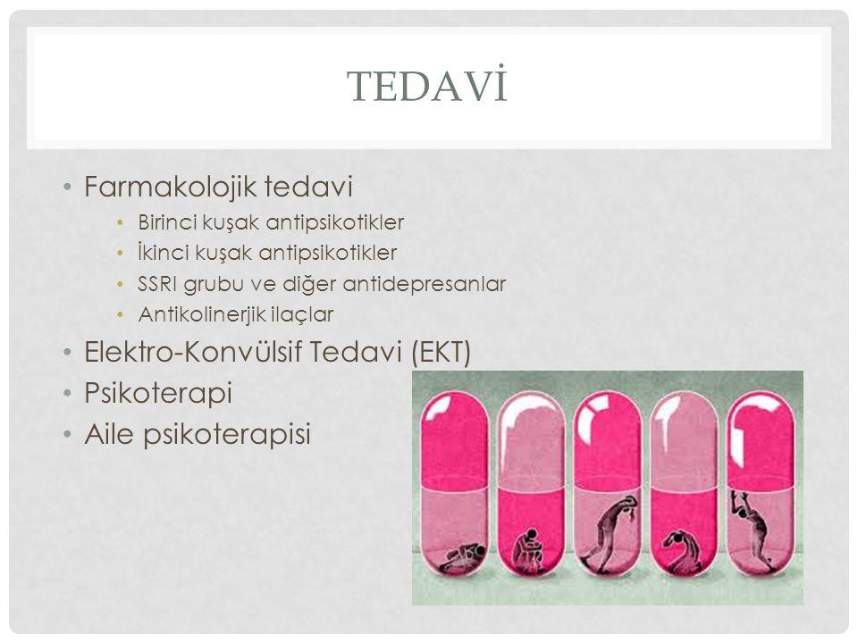 TEDAVİ Farmakolojik tedavi Birinci kuşak antipsikotikler İkinci kuşak antipsikotikler SSRI grubu ve diğer antidepresanlar Antikolinerjik ilaçlar Elekt