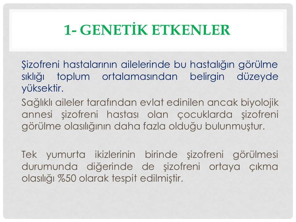 1.Şizotürü(şizotipal) Kişilik Bozukluğu 2. Sanrılı Bozukluk 3.