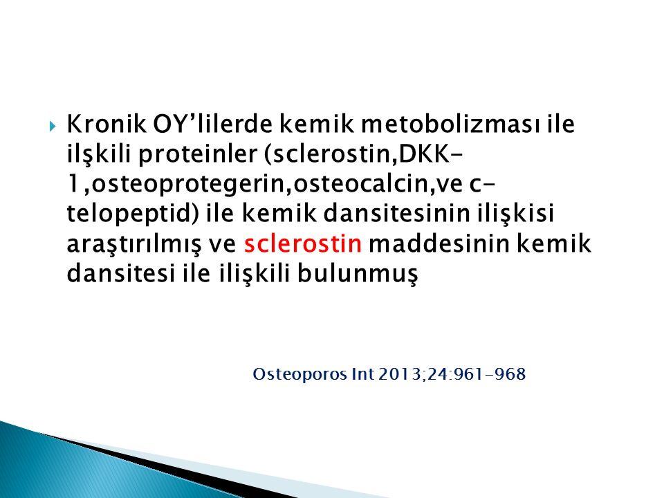  Kronik OY'lilerde kemik metobolizması ile ilşkili proteinler (sclerostin,DKK- 1,osteoprotegerin,osteocalcin,ve c- telopeptid) ile kemik dansitesinin