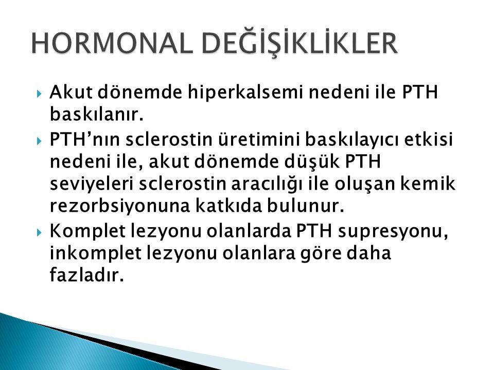  Akut dönemde hiperkalsemi nedeni ile PTH baskılanır.  PTH'nın sclerostin üretimini baskılayıcı etkisi nedeni ile, akut dönemde düşük PTH seviyeleri