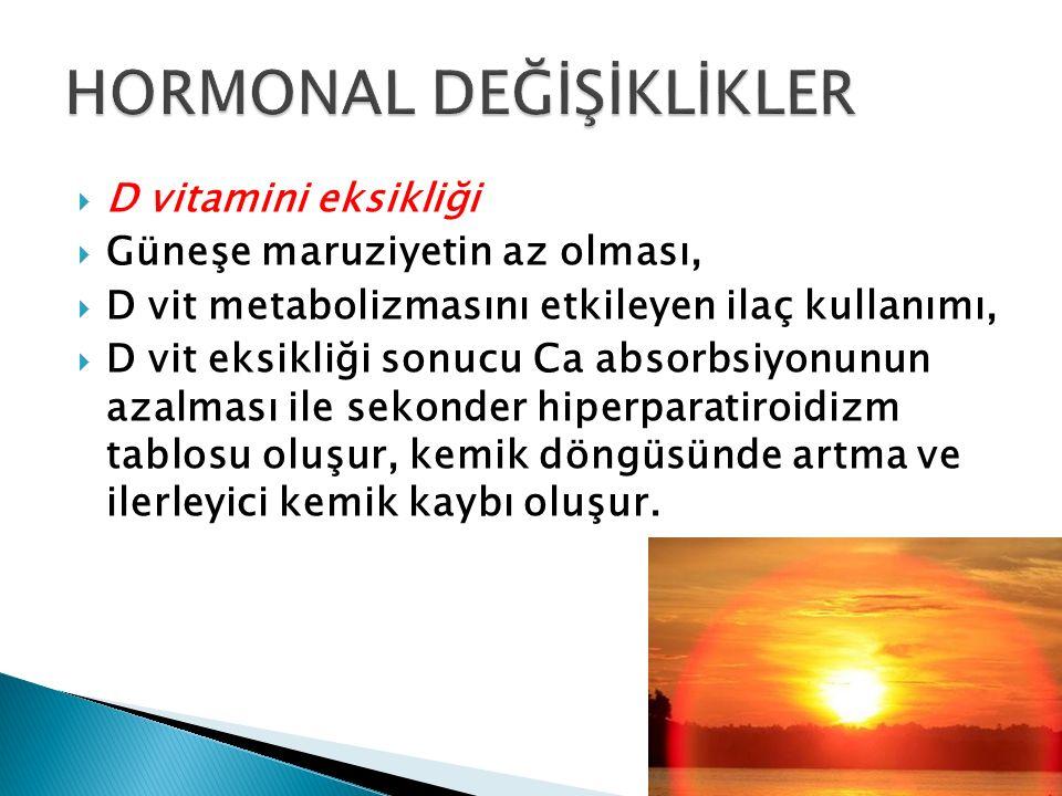  D vitamini eksikliği  Güneşe maruziyetin az olması,  D vit metabolizmasını etkileyen ilaç kullanımı,  D vit eksikliği sonucu Ca absorbsiyonunun a