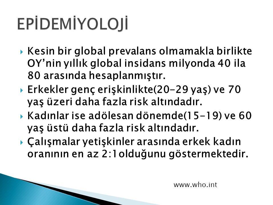  Kesin bir global prevalans olmamakla birlikte OY'nin yıllık global insidans milyonda 40 ila 80 arasında hesaplanmıştır.  Erkekler genç erişkinlikte