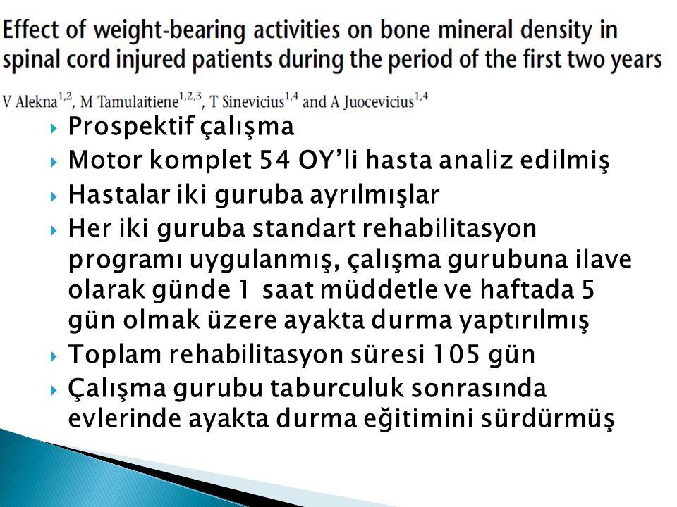  Prospektif çalışma  Motor komplet 54 OY'li hasta analiz edilmiş  Hastalar iki guruba ayrılmışlar  Her iki guruba standart rehabilitasyon programı