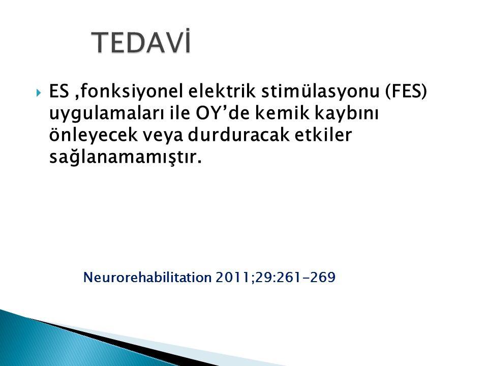  ES,fonksiyonel elektrik stimülasyonu (FES) uygulamaları ile OY'de kemik kaybını önleyecek veya durduracak etkiler sağlanamamıştır. Neurorehabilitati