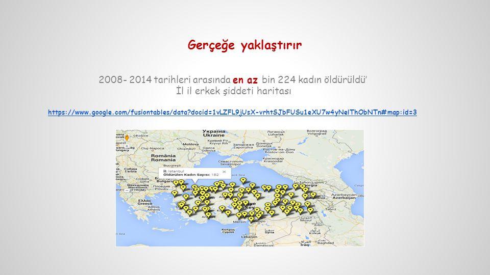 Gerçeğe yaklaştırır 2008- 2014 tarihleri arasında en az bin 224 kadın öldürüldü' İl il erkek şiddeti haritası https://www.google.com/fusiontables/data?docid=1vLZFL9jUsX-vrhtSJbFUSu1eXU7w4yNelThObNTn#map:id=3