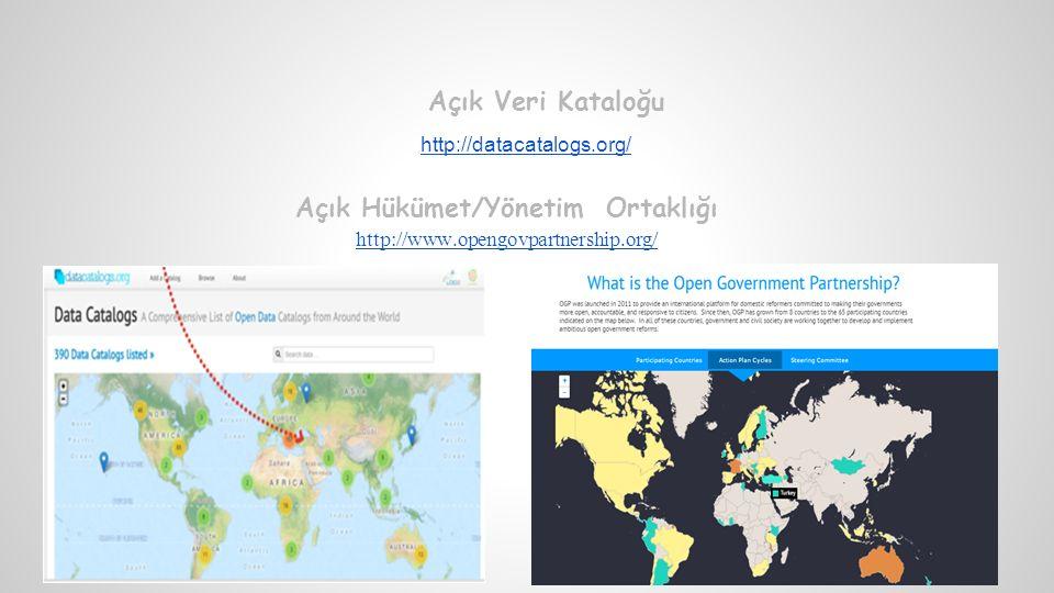 Açık Veri Kataloğu http://datacatalogs.org/ Açık Hükümet/Yönetim Ortaklığı http://www.opengovpartnership.org/