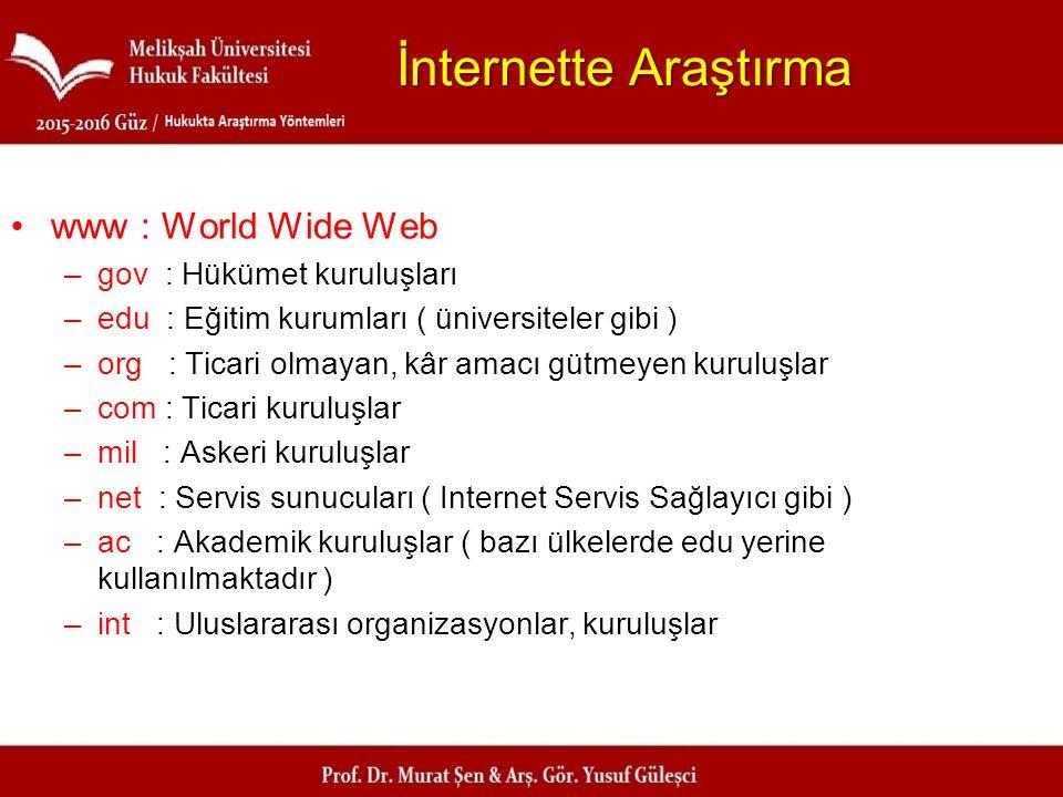 İnternette Araştırma www : World Wide Web –gov : Hükümet kuruluşları –edu : Eğitim kurumları ( üniversiteler gibi ) –org : Ticari olmayan, kâr amacı g