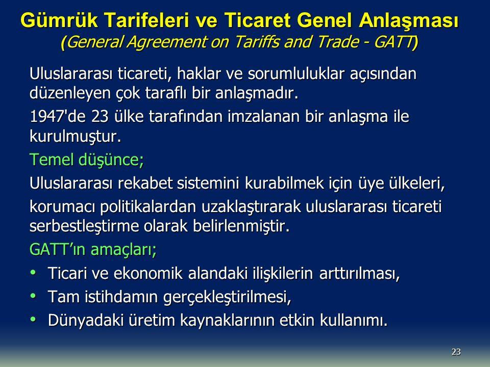 Gümrük Tarifeleri ve Ticaret Genel Anlaşması ( General Agreement on Tariffs and Trade - GATT ) Uluslararası ticareti, haklar ve sorumluluklar açısından düzenleyen çok taraflı bir anlaşmadır.