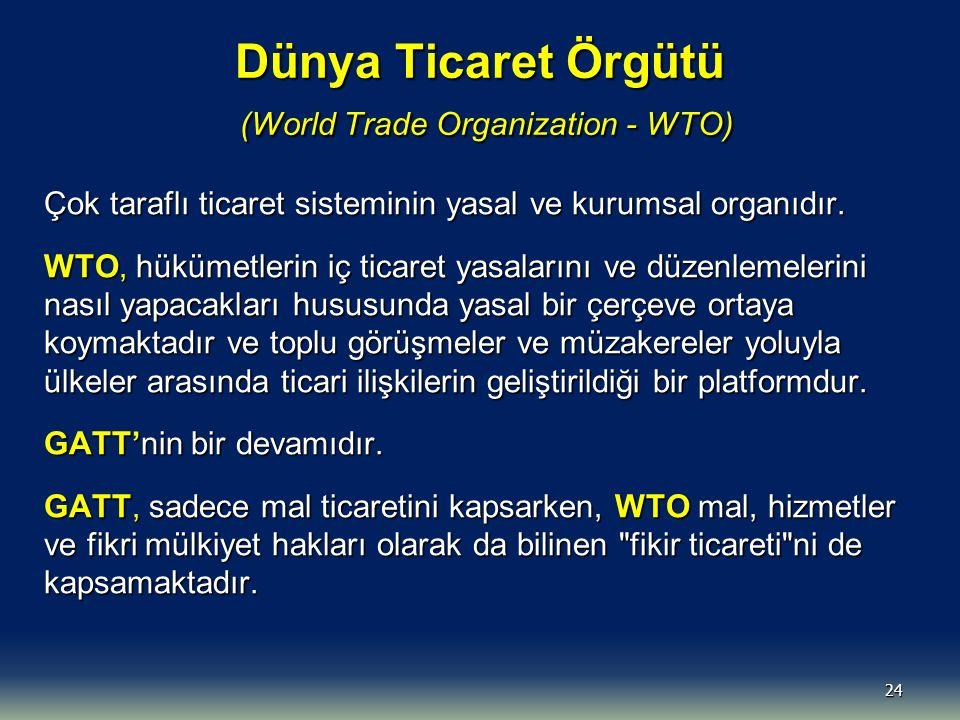 Dünya Ticaret Örgütü (World Trade Organization - WTO) Çok taraflı ticaret sisteminin yasal ve kurumsal organıdır.