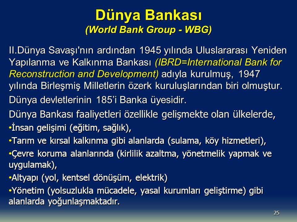 Dünya Bankası (World Bank Group - WBG) II.Dünya Savaşı nın ardından 1945 yılında Uluslararası Yeniden Yapılanma ve Kalkınma Bankası (IBRD=International Bank for Reconstruction and Development) adıyla kurulmuş, 1947 yılında Birleşmiş Milletlerin özerk kuruluşlarından biri olmuştur.