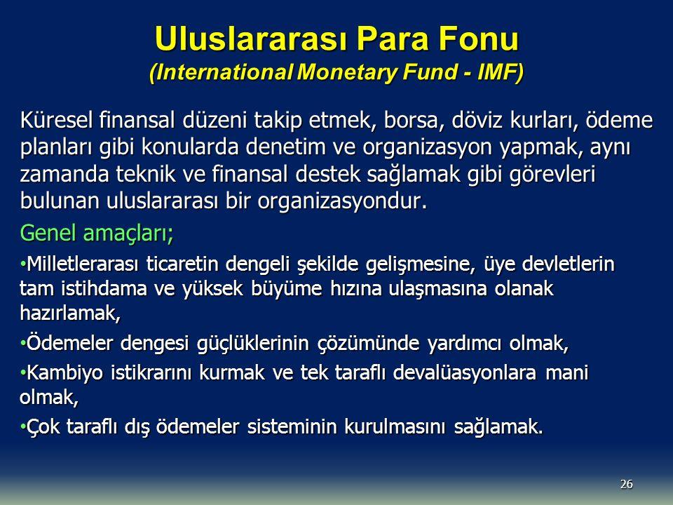 Uluslararası Para Fonu (International Monetary Fund - IMF) Küresel finansal düzeni takip etmek, borsa, döviz kurları, ödeme planları gibi konularda denetim ve organizasyon yapmak, aynı zamanda teknik ve finansal destek sağlamak gibi görevleri bulunan uluslararası bir organizasyondur.