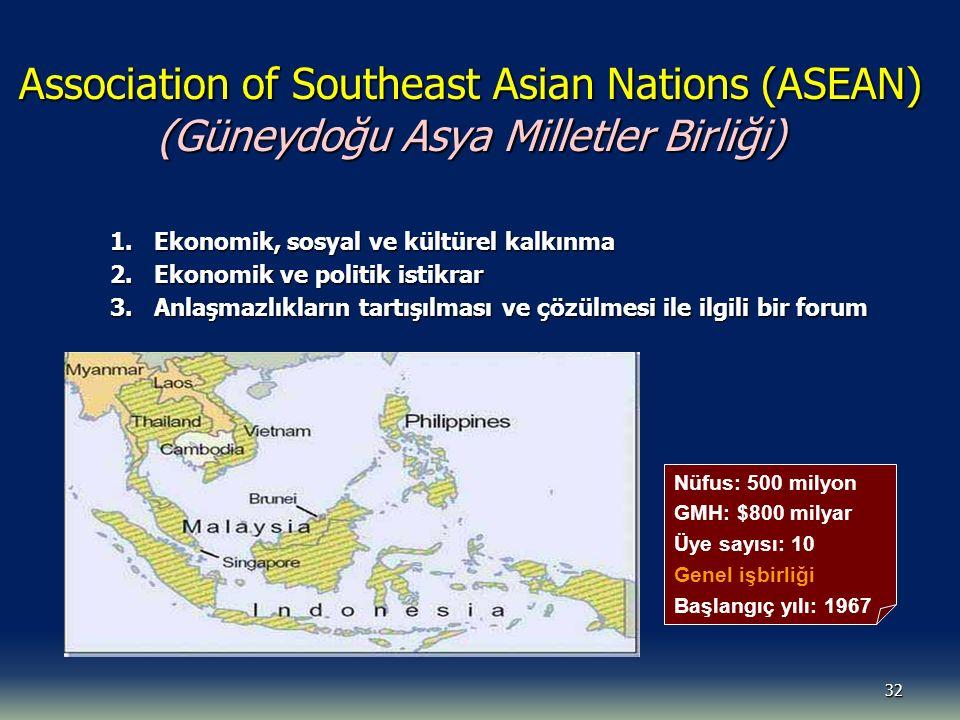 32 Association of Southeast Asian Nations (ASEAN) (Güneydoğu Asya Milletler Birliği) 1. Ekonomik, sosyal ve kültürel kalkınma 2. Ekonomik ve politik i