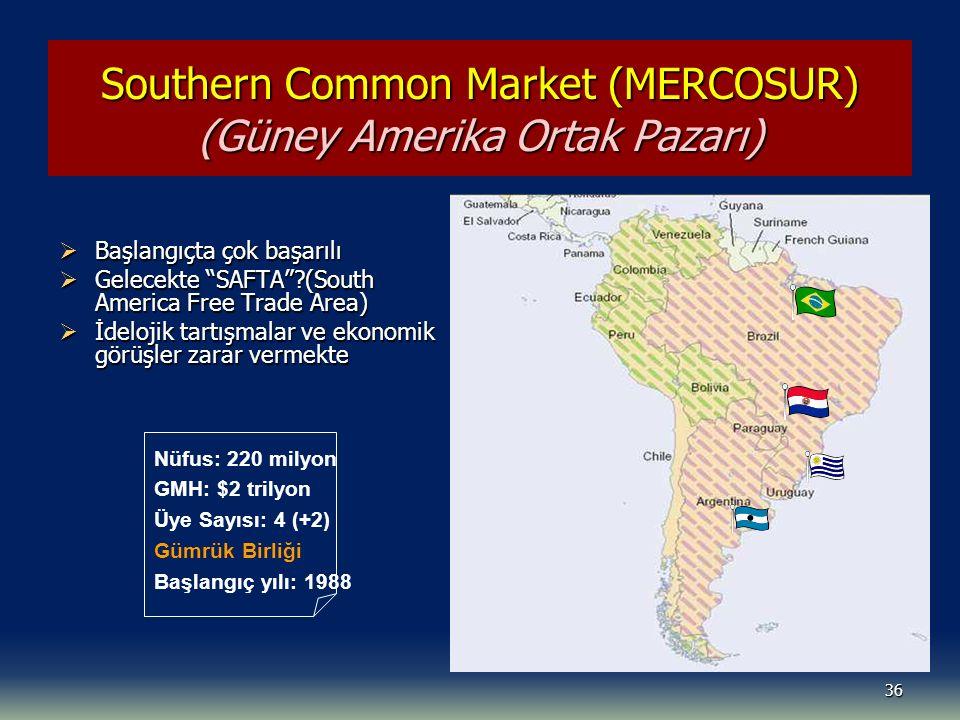 36 Southern Common Market (MERCOSUR) (Güney Amerika Ortak Pazarı)  Başlangıçta çok başarılı  Gelecekte SAFTA ?(South America Free Trade Area)  İdelojik tartışmalar ve ekonomik görüşler zarar vermekte Nüfus: 220 milyon GMH: $2 trilyon Üye Sayısı: 4 (+2) Gümrük Birliği Başlangıç yılı: 1988