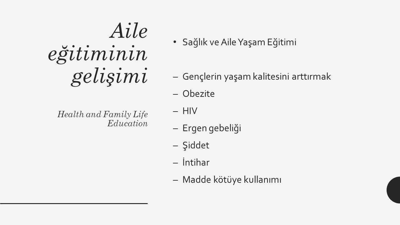 Aile eğitiminin gelişimi Health and Family Life Education Sağlık ve Aile Yaşam Eğitimi –Gençlerin yaşam kalitesini arttırmak –Obezite –HIV –Ergen gebe