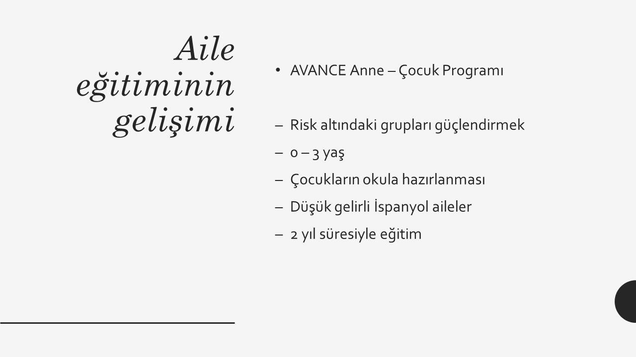 Aile eğitiminin gelişimi AVANCE Anne – Çocuk Programı –Risk altındaki grupları güçlendirmek –0 – 3 yaş –Çocukların okula hazırlanması –Düşük gelirli İ