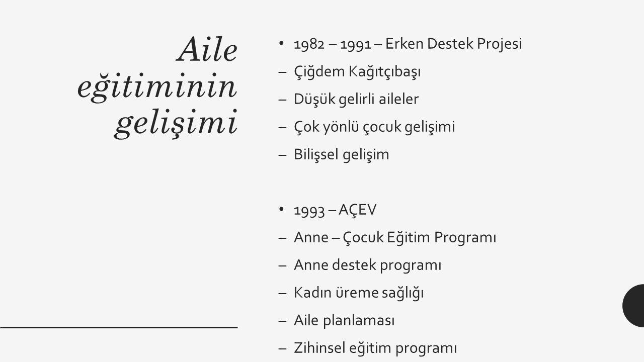 Aile eğitiminin gelişimi 1982 – 1991 – Erken Destek Projesi –Çiğdem Kağıtçıbaşı –Düşük gelirli aileler –Çok yönlü çocuk gelişimi –Bilişsel gelişim 199