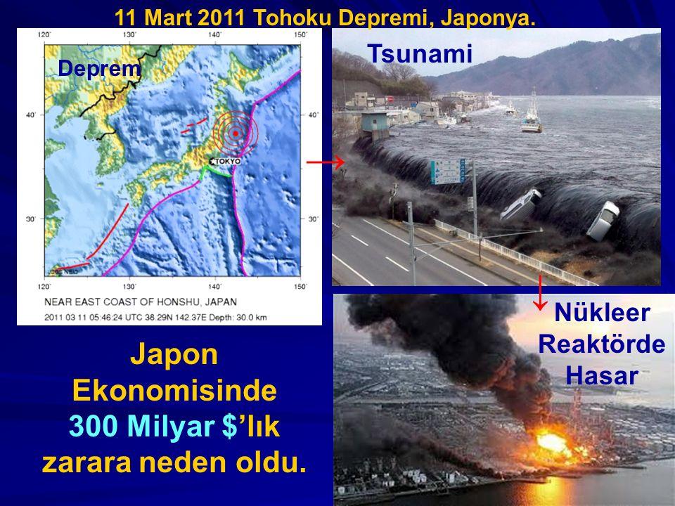 Deprem Tsunami Nükleer Reaktörde Hasar Japon Ekonomisinde 300 Milyar $'lık zarara neden oldu. → ↓ 11 Mart 2011 Tohoku Depremi, Japonya.