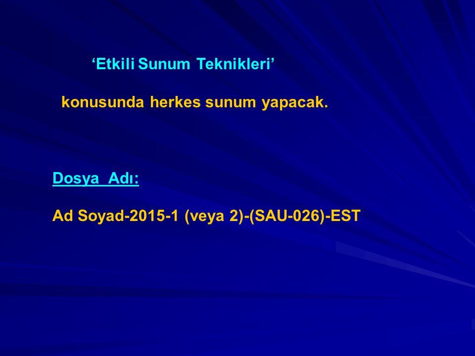SUNUM KONUSU ÖNERİLERİ 1- 17 Ağustos 1999 İzmit Depremi 2- 23 Ekim 2011 Van Depremi 3- Beklenen İstanbul Depremi 4- 11 Nisan 2011 Tohoku, Japonya Depremi 5- 26 Aralık 2004 Sumatra-Andaman Depremi 6- Türkiye'de Heyelanlar 7- Türkiye'de Seller 8- AFAD 9- İstanbul AKOM 10- Adapazarı Deprem Senaryosu ve Planı 11- İstanbul Deprem Senaryosu ve Planı 12- Afet ve Acil Yardım Koordinasyon Merkezi Tasarımı 13- Kentsel Dönüşüm 14- Afet Bilinci Eğitimi 15-Türkiye'de Afet Yönetimi Planlaması Dönem Proje Raporları Teslim Tarihi: 11 Aralık 2015