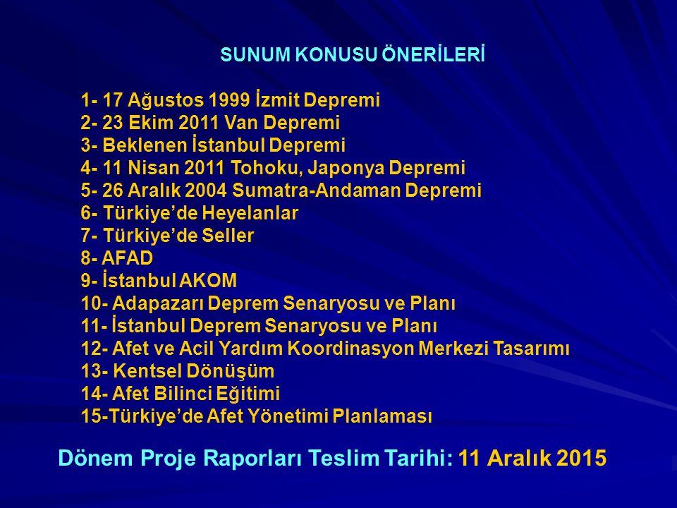 SUNUM KONUSU ÖNERİLERİ 1- 17 Ağustos 1999 İzmit Depremi 2- 23 Ekim 2011 Van Depremi 3- Beklenen İstanbul Depremi 4- 11 Nisan 2011 Tohoku, Japonya Depr