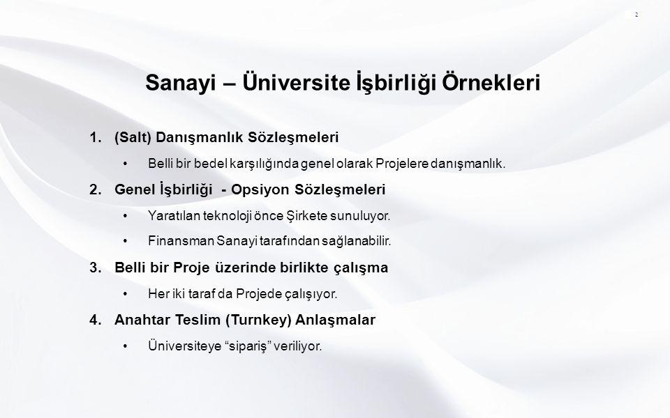 Sanayi – Üniversite İşbirliği Örnekleri 2 1.(Salt) Danışmanlık Sözleşmeleri Belli bir bedel karşılığında genel olarak Projelere danışmanlık. 2.Genel İ