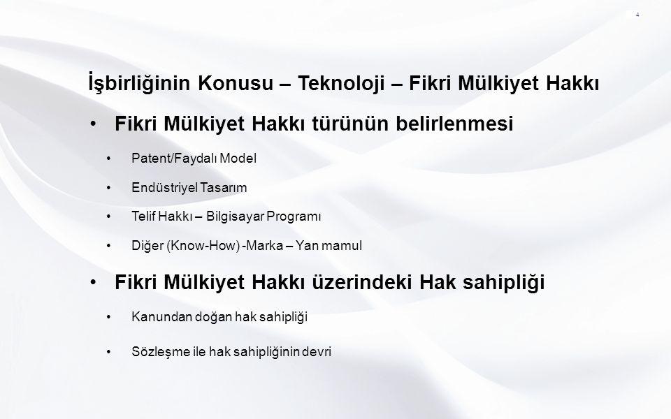 Fikri Mülkiyet Hakkı üzerinde Tasarruf 5 Teknolojinin Tamamen Devredilmesi Teknoloji Üzerinde Kullanım Hakkı Verilmesi (Lisans Sözleşmeleri)