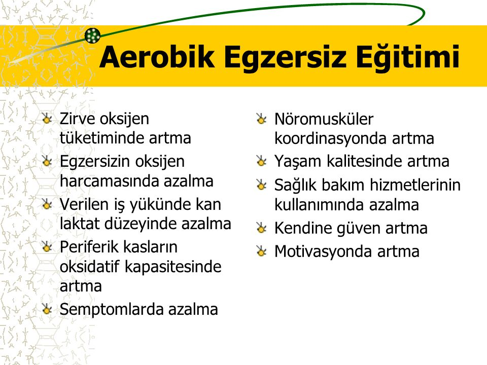 Aerobik Egzersiz Eğitimi Zirve oksijen tüketiminde artma Egzersizin oksijen harcamasında azalma Verilen iş yükünde kan laktat düzeyinde azalma Perifer