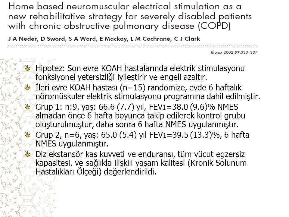 Hipotez: Son evre KOAH hastalarında elektrik stimulasyonu fonksiyonel yetersizliği iyileştirir ve engeli azaltır. İleri evre KOAH hastası (n=15) rando