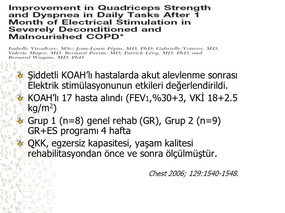 ES Şiddetli KOAH'lı hastalarda akut alevlenme sonrası Elektrik stimülasyonunun etkileri değerlendirildi. KOAH'lı 17 hasta alındı (FEV 1,%30+3, VKİ 18+