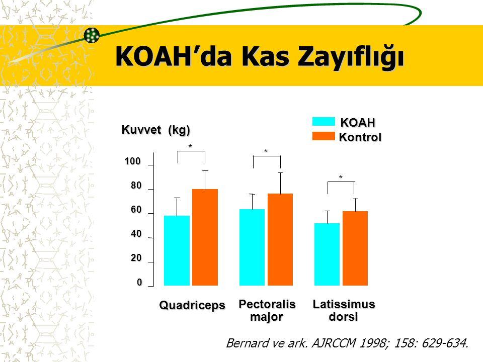 KOAH'da Kas Zayıflığı Pectoralis major Kuvvet (kg) 0 20 40 60 80 100 KOAH Kontrol Latissimus dorsi Quadriceps * * * Bernard ve ark. AJRCCM 1998; 158: