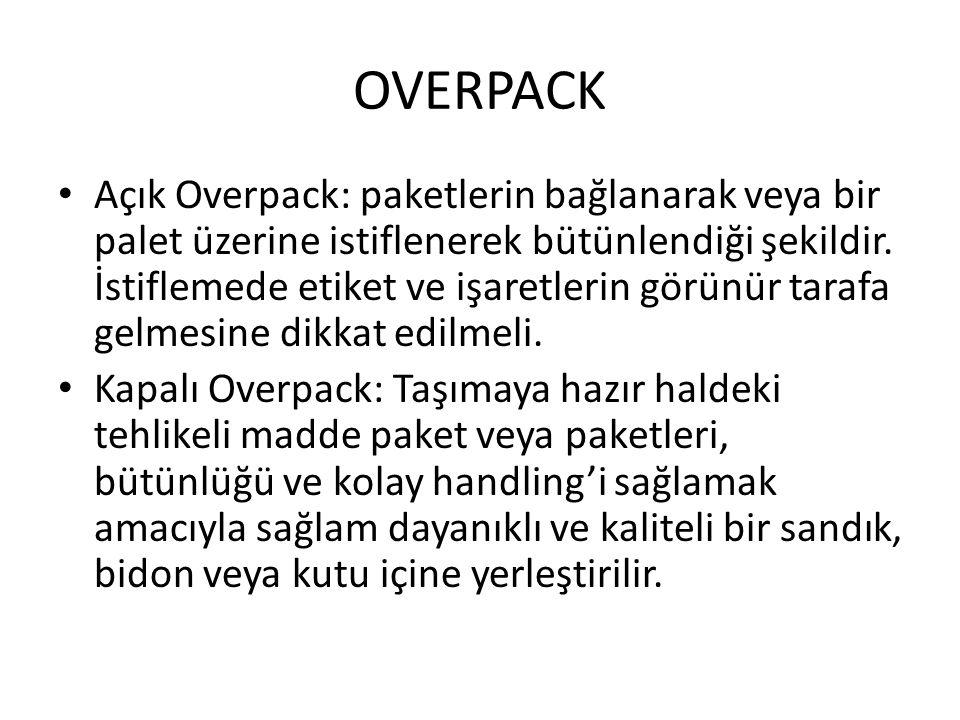 OVERPACK Açık Overpack: paketlerin bağlanarak veya bir palet üzerine istiflenerek bütünlendiği şekildir. İstiflemede etiket ve işaretlerin görünür tar