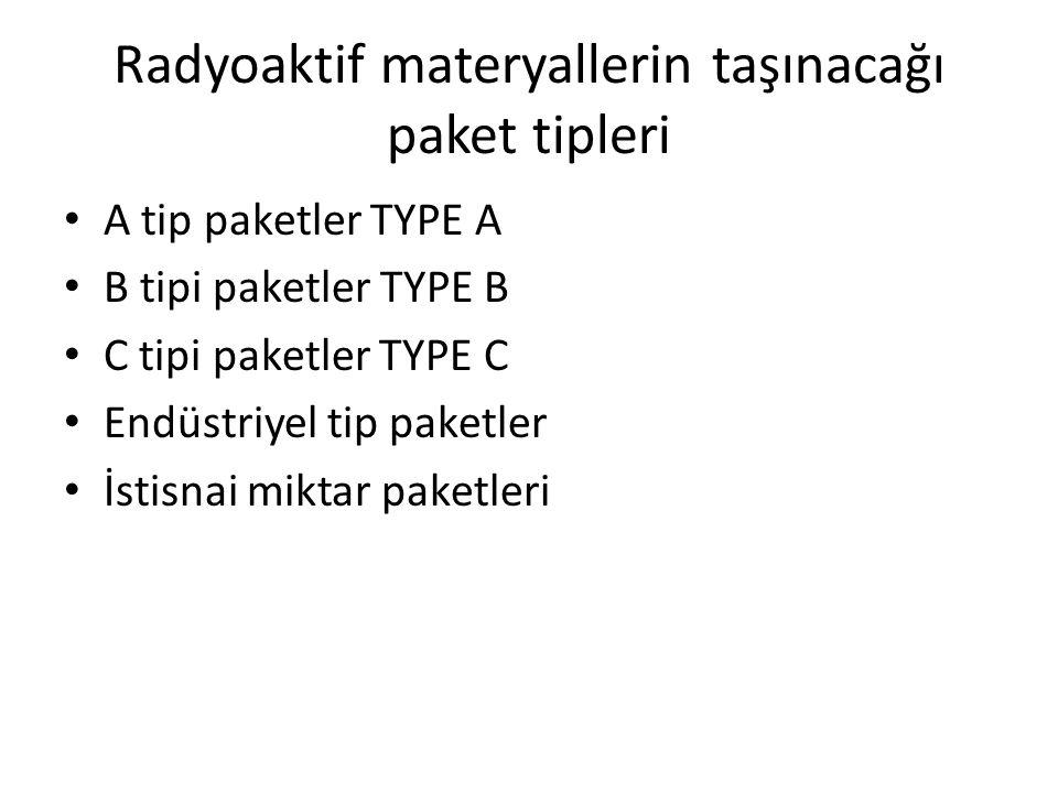 Radyoaktif materyallerin taşınacağı paket tipleri A tip paketler TYPE A B tipi paketler TYPE B C tipi paketler TYPE C Endüstriyel tip paketler İstisna