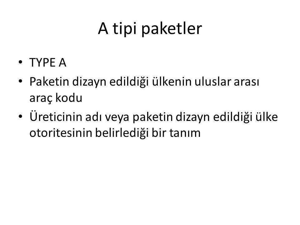 A tipi paketler TYPE A Paketin dizayn edildiği ülkenin uluslar arası araç kodu Üreticinin adı veya paketin dizayn edildiği ülke otoritesinin belirledi