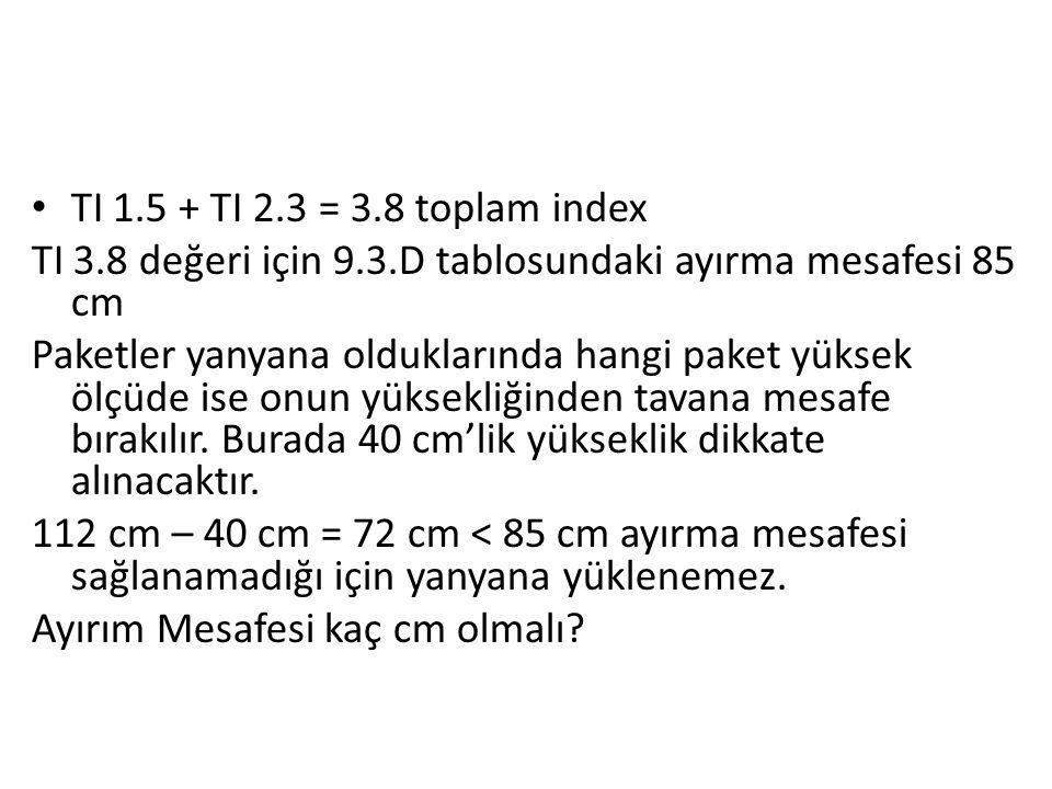 TI 1.5 + TI 2.3 = 3.8 toplam index TI 3.8 değeri için 9.3.D tablosundaki ayırma mesafesi 85 cm Paketler yanyana olduklarında hangi paket yüksek ölçüde