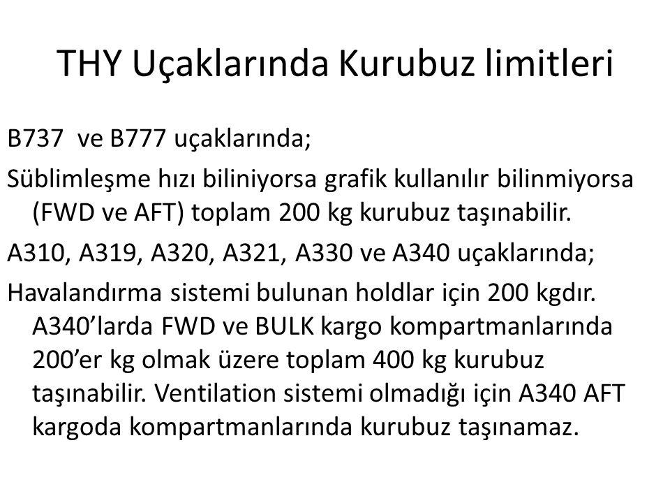 THY Uçaklarında Kurubuz limitleri B737 ve B777 uçaklarında; Süblimleşme hızı biliniyorsa grafik kullanılır bilinmiyorsa (FWD ve AFT) toplam 200 kg kur