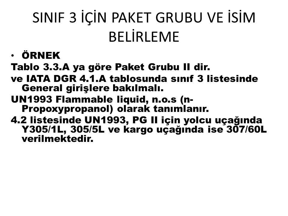 SINIF 3 İÇİN PAKET GRUBU VE İSİM BELİRLEME ÖRNEK Tablo 3.3.A ya göre Paket Grubu II dir. ve IATA DGR 4.1.A tablosunda sınıf 3 listesinde General giriş