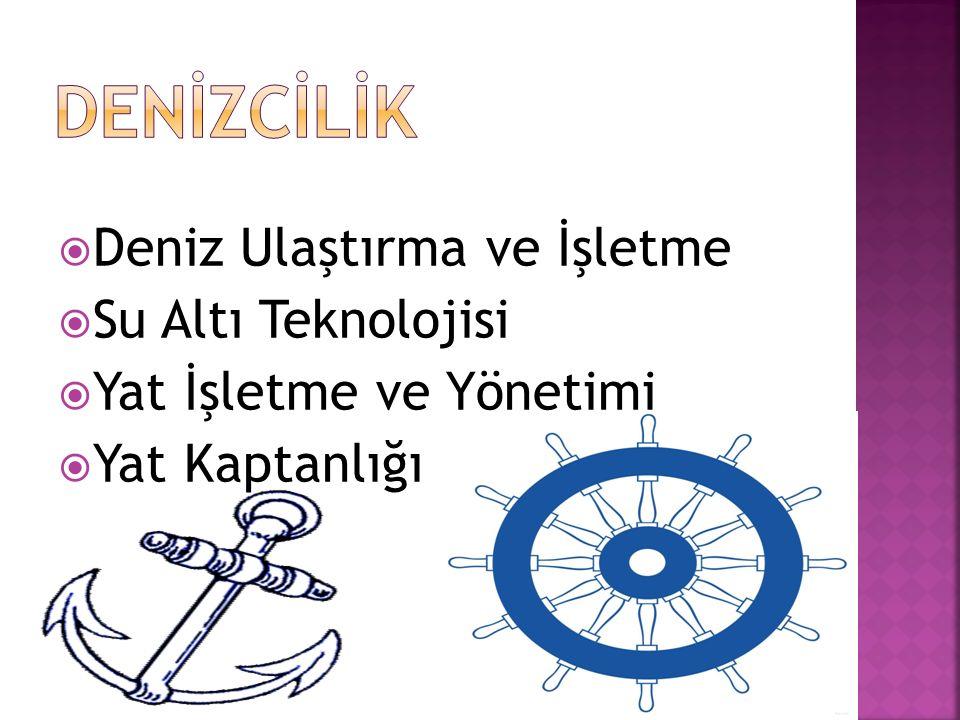  Deniz Ulaştırma ve İşletme  Su Altı Teknolojisi  Yat İşletme ve Yönetimi  Yat Kaptanlığı