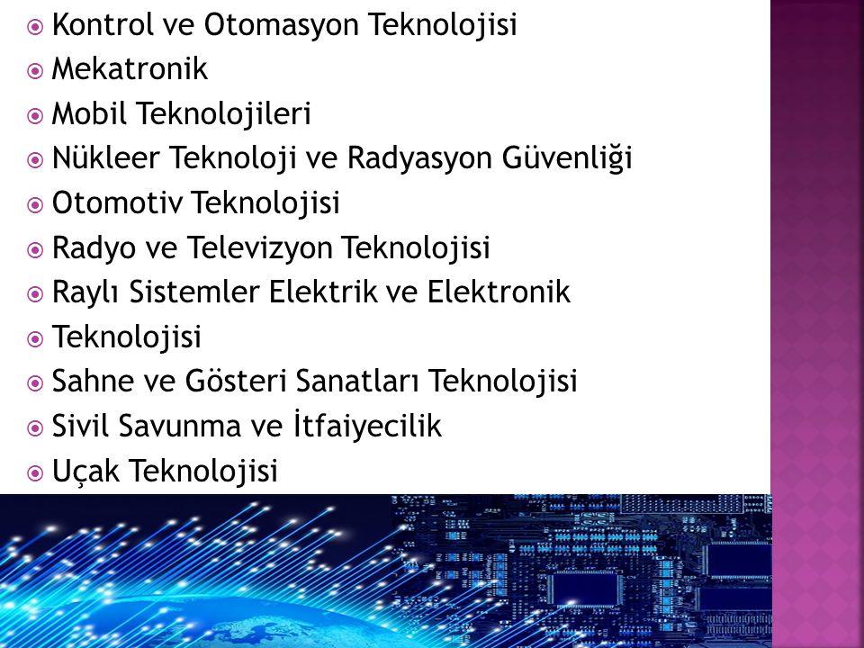  Kontrol ve Otomasyon Teknolojisi  Mekatronik  Mobil Teknolojileri  Nükleer Teknoloji ve Radyasyon Güvenliği  Otomotiv Teknolojisi  Radyo ve Tel