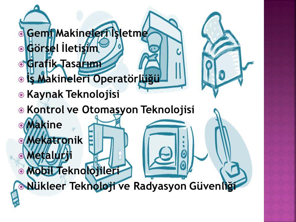  Gemi Makineleri İşletme  Görsel İletişim  Grafik Tasarımı  İş Makineleri Operatörlüğü  Kaynak Teknolojisi  Kontrol ve Otomasyon Teknolojisi  Makine  Mekatronik  Metalurji  Mobil Teknolojileri  Nükleer Teknoloji ve Radyasyon Güvenliği