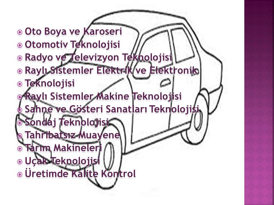  Oto Boya ve Karoseri  Otomotiv Teknolojisi  Radyo ve Televizyon Teknolojisi  Raylı Sistemler Elektrik ve Elektronik  Teknolojisi  Raylı Sistemler Makine Teknolojisi  Sahne ve Gösteri Sanatları Teknolojisi  Sondaj Teknolojisi  Tahribatsız Muayene  Tarım Makineleri  Uçak Teknolojisi  Üretimde Kalite Kontrol  Oto Boya ve Karoseri  Otomotiv Teknolojisi  Radyo ve Televizyon Teknolojisi  Raylı Sistemler Elektrik ve Elektronik  Teknolojisi  Raylı Sistemler Makine Teknolojisi  Sahne ve Gösteri Sanatları Teknolojisi  Sondaj Teknolojisi  Tahribatsız Muayene  Tarım Makineleri  Uçak Teknolojisi  Üretimde Kalite Kontrol