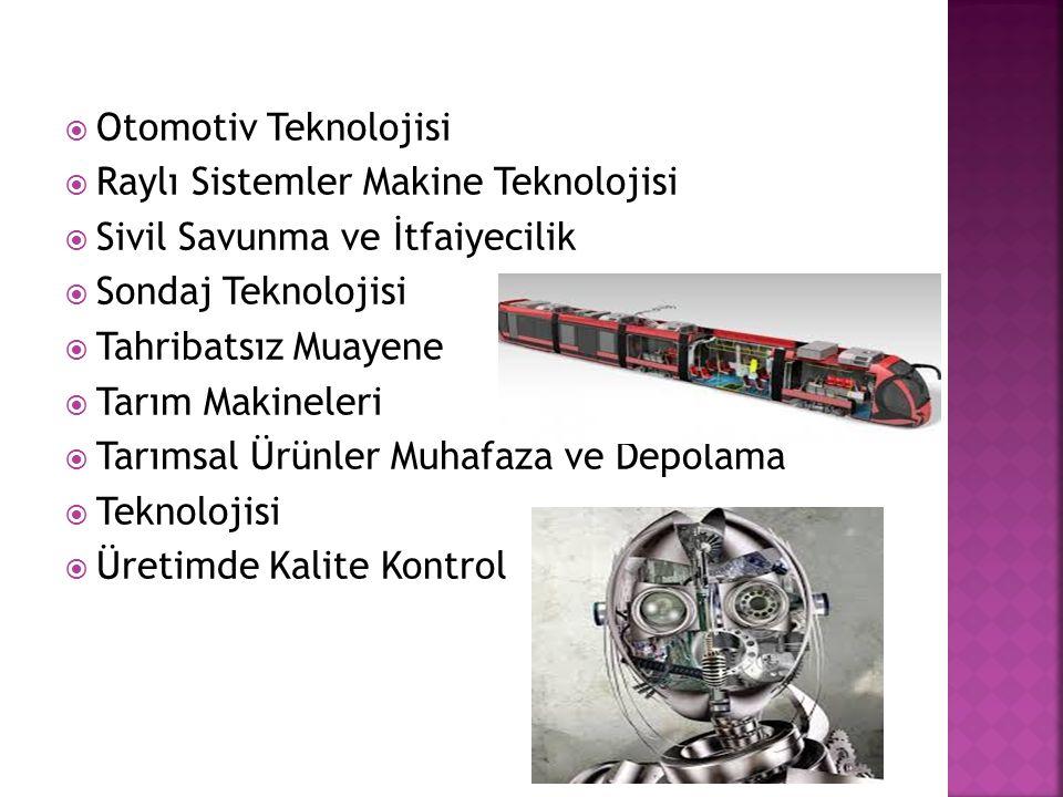  Otomotiv Teknolojisi  Raylı Sistemler Makine Teknolojisi  Sivil Savunma ve İtfaiyecilik  Sondaj Teknolojisi  Tahribatsız Muayene  Tarım Makinel