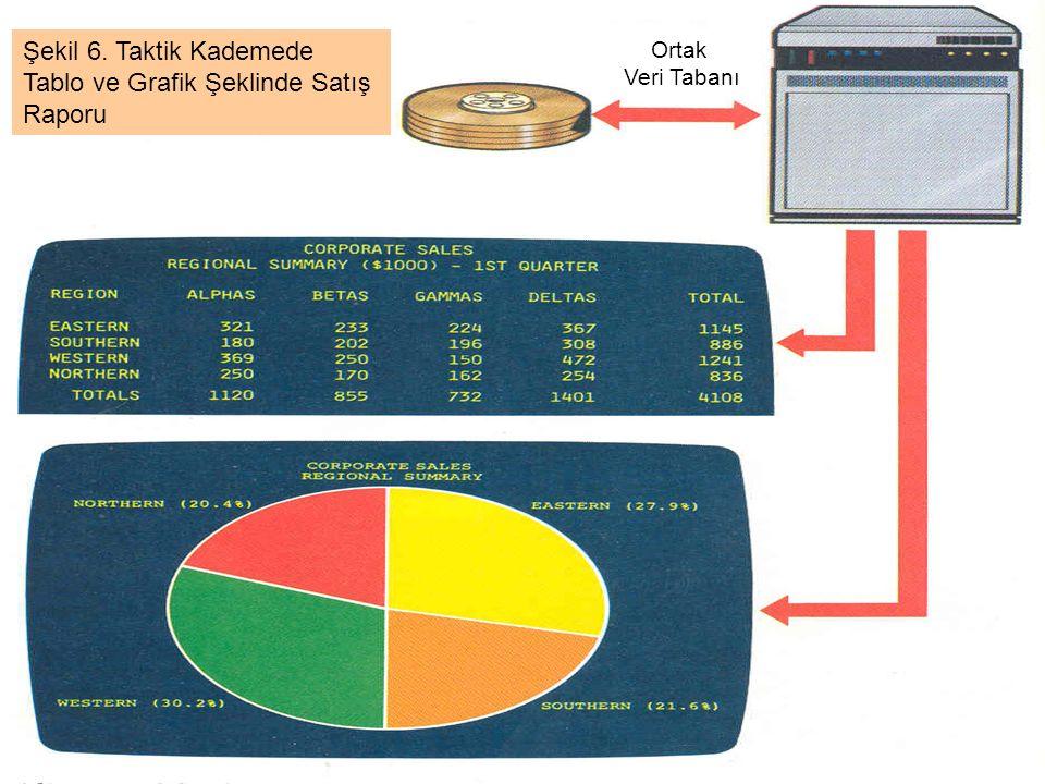 Ortak Veri Tabanı Şekil 6. Taktik Kademede Tablo ve Grafik Şeklinde Satış Raporu