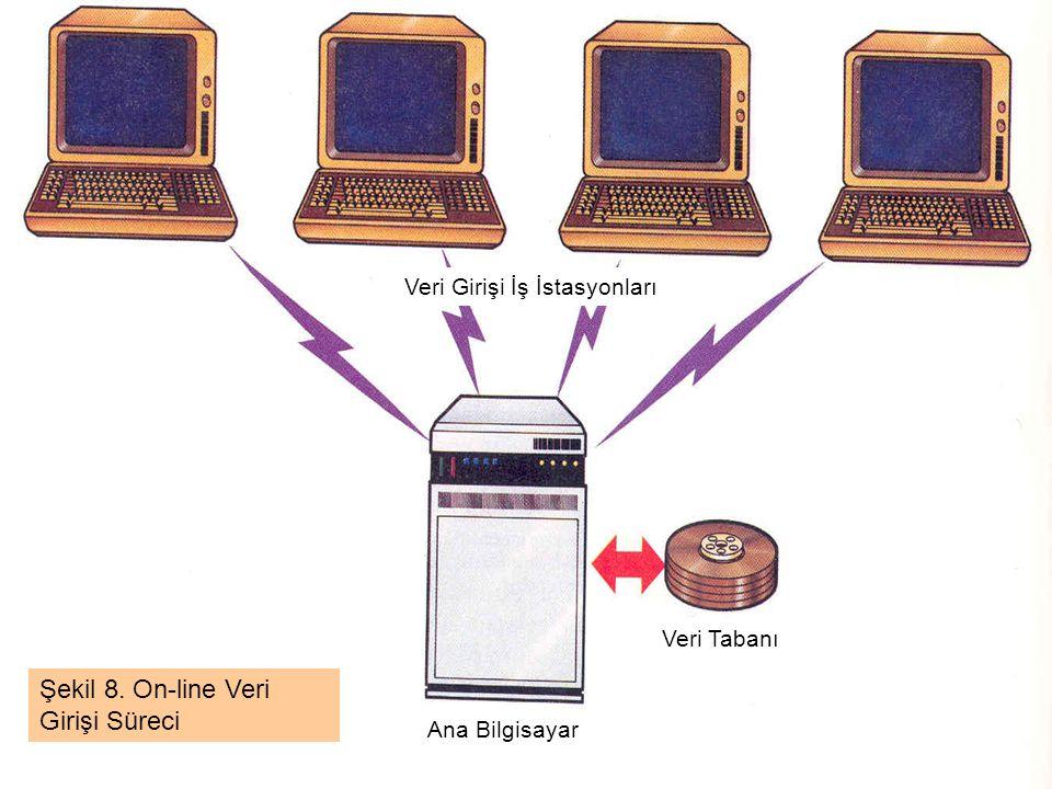 Ana Bilgisayar Veri Tabanı Veri Girişi İş İstasyonları Şekil 8. On-line Veri Girişi Süreci