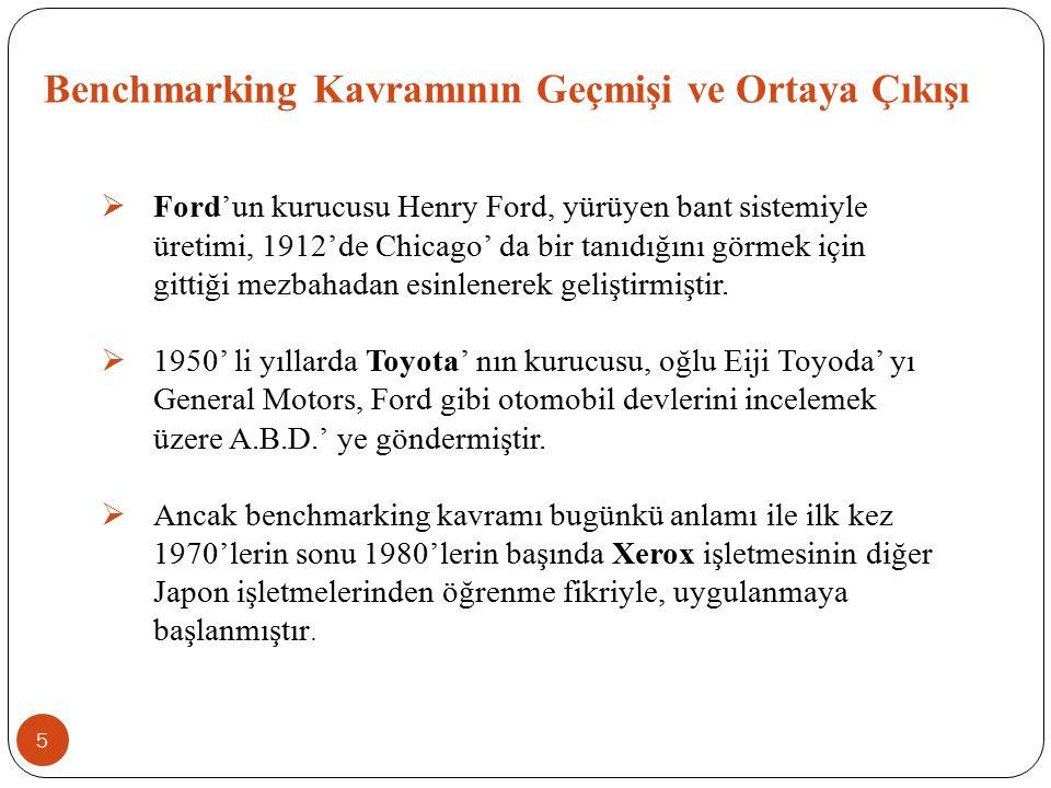 Benchmarking Kavramının Geçmişi ve Ortaya Çıkışı  Ford'un kurucusu Henry Ford, yürüyen bant sistemiyle üretimi, 1912'de Chicago' da bir tanıdığını gö