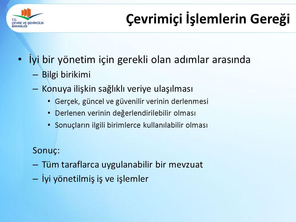 GENEL AMAÇ Türkiye geneli tehlikeli atık üreten firmaların kayıt altına alınması, Üretilen atıklara ilişkin verinin toplanması ve değerlendirilmesi, Sağlıklı bir atık envanterinin oluşturulması Alınacak çevresel tedbirlere zemin hazırlamak Çevresel altyapı servislerinin iyileştirilmesi ve geliştirilmesine katkı sağlamak Atık sektörü için bilgi yönetimini iyileştirmek ve kaliteli veri sağlamak, Çevrimiçi Sistemlerin Kullanım Amacı